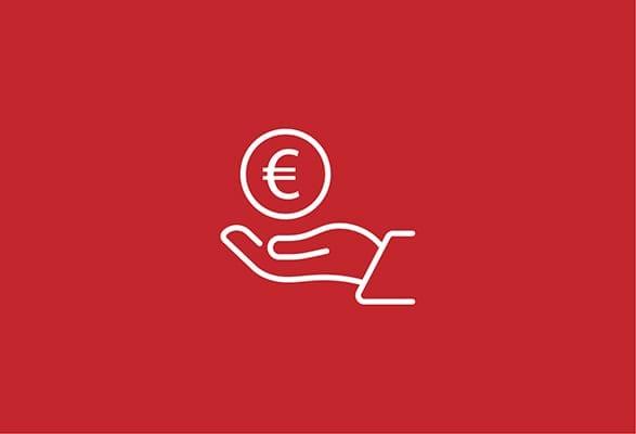 illustratie van een een hand met een euromunt