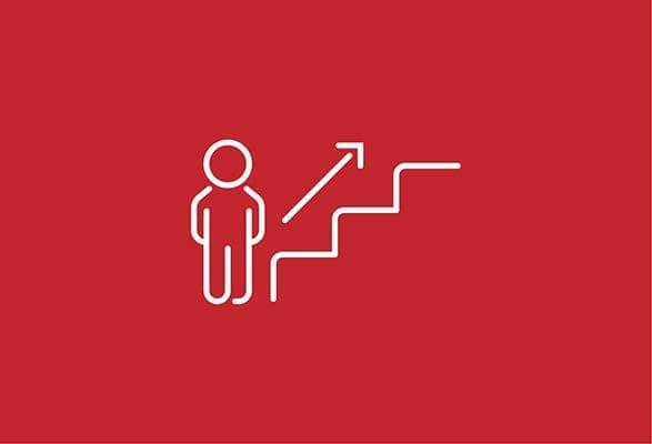 illustratie van een poppetje aan de bodem van een trap