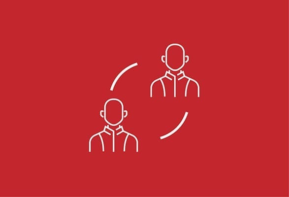 illustratie van 2 poppetjes in een cyclus