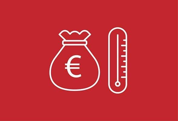 ilustratie zak met euroteken en thermometer
