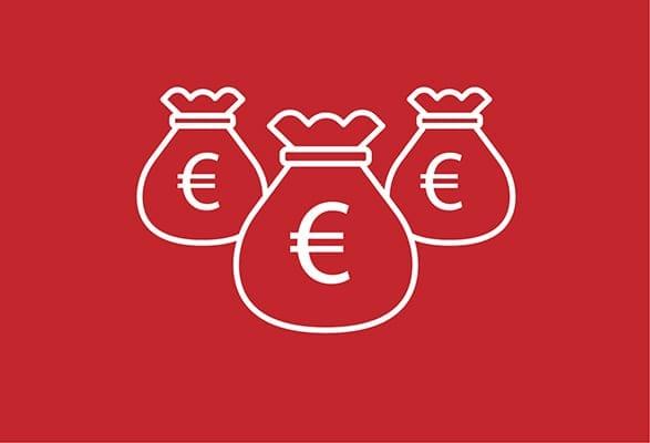 ilustratie 3 zakken met eurotekens