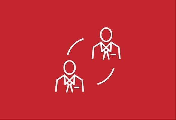 illustratie silhouet van 2 poppetjes in een cyclus