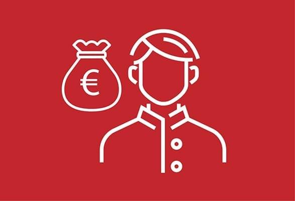 ilustratie poppetje en zak met euroteken