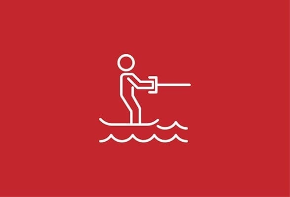 illustratie van een poppejte op zee aan het wakesurfen
